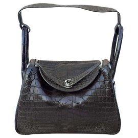 Hermès-Hermès sac a main Lindy Gris Elephant crocodile Phw 30 cm-Marron