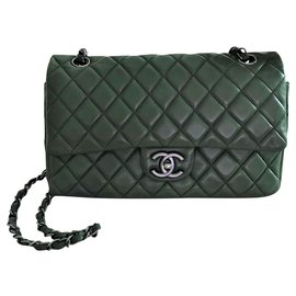 Chanel-Chanel medium Timeless  classic lined flap bag-Green