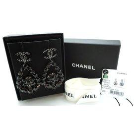 Chanel-Chanel Strass Ruthenium Dangle Pierced Ohrringe-Schwarz