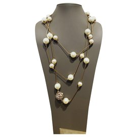 Chanel-Long necklaces-White,Golden