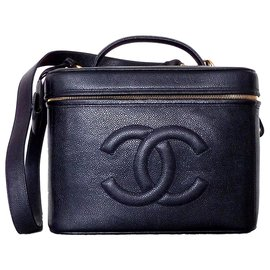 Chanel-VANITY CHANEL BLACK LEATHER-Black