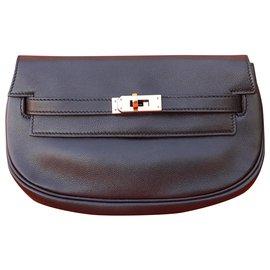 Hermès-Hermès Kelly Banane Belt Bag Pochette Handbag Leather Black Ghw Rare-Black,Golden