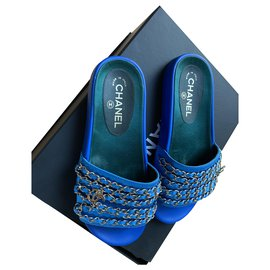 Chanel-Mules-Blue