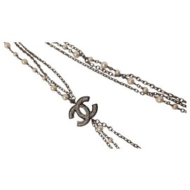 Chanel-Long necklaces-Black,Metallic