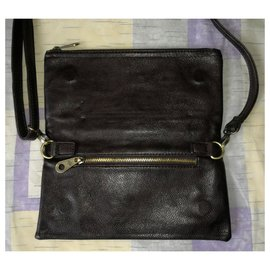 Mulberry-Convertible Fold Over Brown Clutch / Crossbody Bag / Purse / Shoulder bag-Brown
