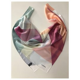 Chanel-CHANEL pure silk scarf-Multiple colors