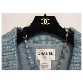 Chanel-CHANEL Blue Tweed Blazer Jacket Sz.38-Blue
