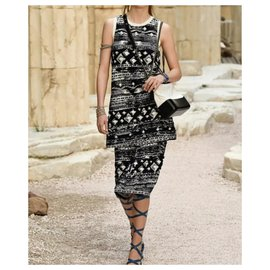 Chanel-Chanel Resort 2018 Greece Multicolor Dress Sz 36-Black,White
