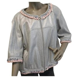 Chanel-CHANEL Silver Chain Tweed Trimming Blazer Jacket Sz.50-Silvery