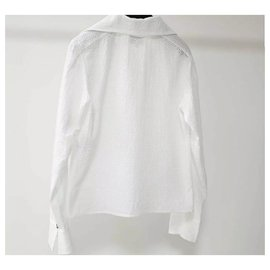 Chanel-CHANEL White Cotton Blouse  Sz.36-White
