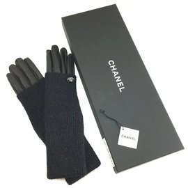 Chanel-Chanel CC Long Fold-over Gloves Size 7-Black