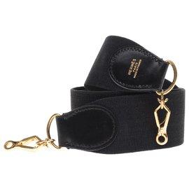 Hermès-Bandoulière Hermès modèle sport en toile et cuir noir, garniture en métal doré pour sacs Hermès-Noir
