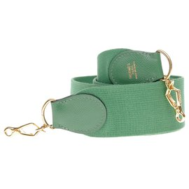 Hermès-Hermès sport model shoulder strap in canvas and green leather, gold metal hardware for Hermès bags-Green