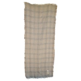 Burberry-Burberry stole in pure cashmere-Grey