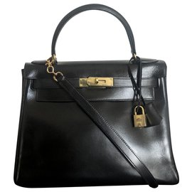 Hermès-hermes kelly 28 black box leather-Black