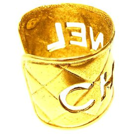 Chanel-Rare Vintage Gold Plated Logo Cutout Cuff Bangle-Golden