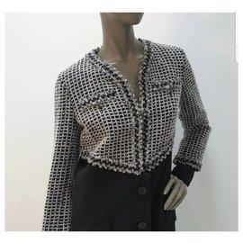 Chanel-Chanel Tweed Coat Jacket CC Logo Button FR 40-Multiple colors