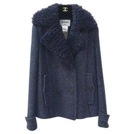 Chanel-Chanel Blue Wool Pea Coat  Jacket Sz.36-Blue
