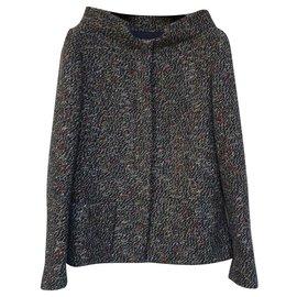 Chanel-CHANEL Multicolour Tweed Jacket Sz.40-Multiple colors