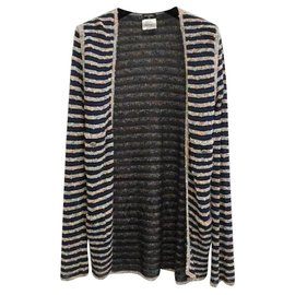 Chanel-Chanel Tweed Striped Cardigan Sz 38-Multiple colors