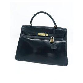 Hermès-Hermes Kelly bag 32 vintage black box leather-Black