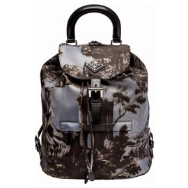 Prada-Prada Re-Issue Templi Print Nylon Backpack-Grey