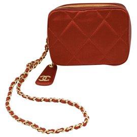 Chanel-Chanel silk clutch-Red,Orange,Coral
