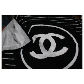 Chanel-Chanel Towel in black and white canvas-Black,White