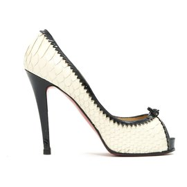 Christian Louboutin-NEW VERY PRIVE FR37 BLACK WHITE PRECIOUS-Black,Cream