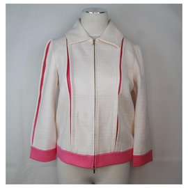 Chanel-Chanel sport jacket in white and pink canvas.-Pink,White,Eggshell