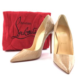 Christian Louboutin-Christian Louboutin Gold So Kate 120 Embossed Watersnake Nude Pumps-Golden