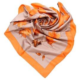 Hermès-Hermes Orange Walk In The Park Silf Scarf-Multiple colors,Orange
