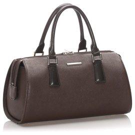 Burberry-Burberry Brown Leather Handbag-Brown,Black,Dark brown