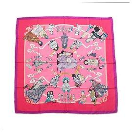 Hermès-Hermes Pink Hello Dolly Silk Scarf-Pink