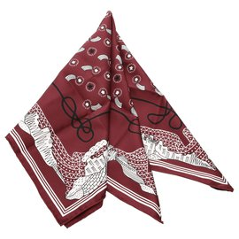 Hermès-Hermes Red Les Canyons Etoiles Silk Scarf-Red,Multiple colors,Other