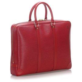 Louis Vuitton-Louis Vuitton Red Epi Porte-Documents Voyage-Rouge
