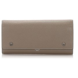 Céline-Celine Brown Leather Continental Wallet-Brown