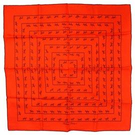 Hermès-Hermes Orange Allures Silk Pocket Square-Orange