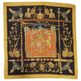 Hermès-Vintage Hermes Queen Elizabeth II Silver Jubilee-Black,Red,Yellow