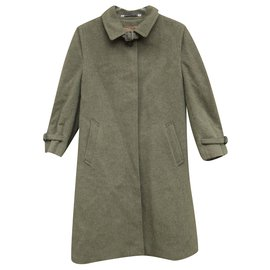 Burberry-vintage woman coat Burberry type loden t 36-Green