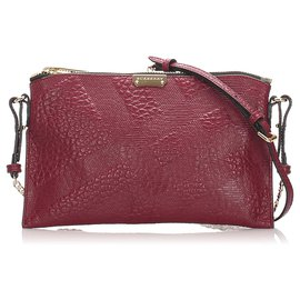 Burberry-Burberry Red Grain Check Peyton Crossbody Bag-Red,Dark red