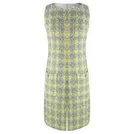 Chanel-robe en tweed jaune bleu-Multicolore
