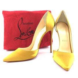 Christian Louboutin-Christian Louboutin Yellow Iriza 120 Satin Tilleul Pumps-Yellow
