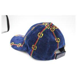 Gucci-Gucci cap in dark blue velvet.-Blue