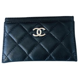 Chanel-Timeless Chanel card holder-Black,Silvery