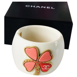 Chanel-Chanel cuff bracelet-Golden,Eggshell,Coral