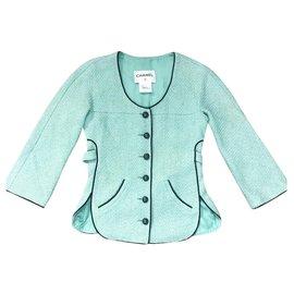 Chanel-runway  tweed jacket-Turquoise