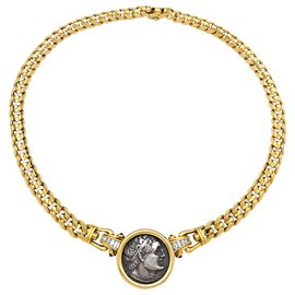 """Bulgari-Collier Bulgari, """"Monete"""",en or jaune, pièce antique, diamants et rubis cabochons.-Autre"""