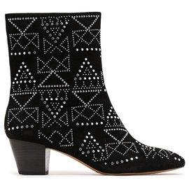 Rebecca Minkoff-Black Suede Silver Studs Boots-Black,Silvery