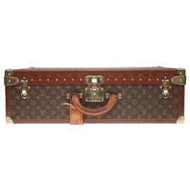 Louis Vuitton-Superbe Valise vintage Louis Vuitton 70cm en toile monogram et lozine marron en très état-Marron